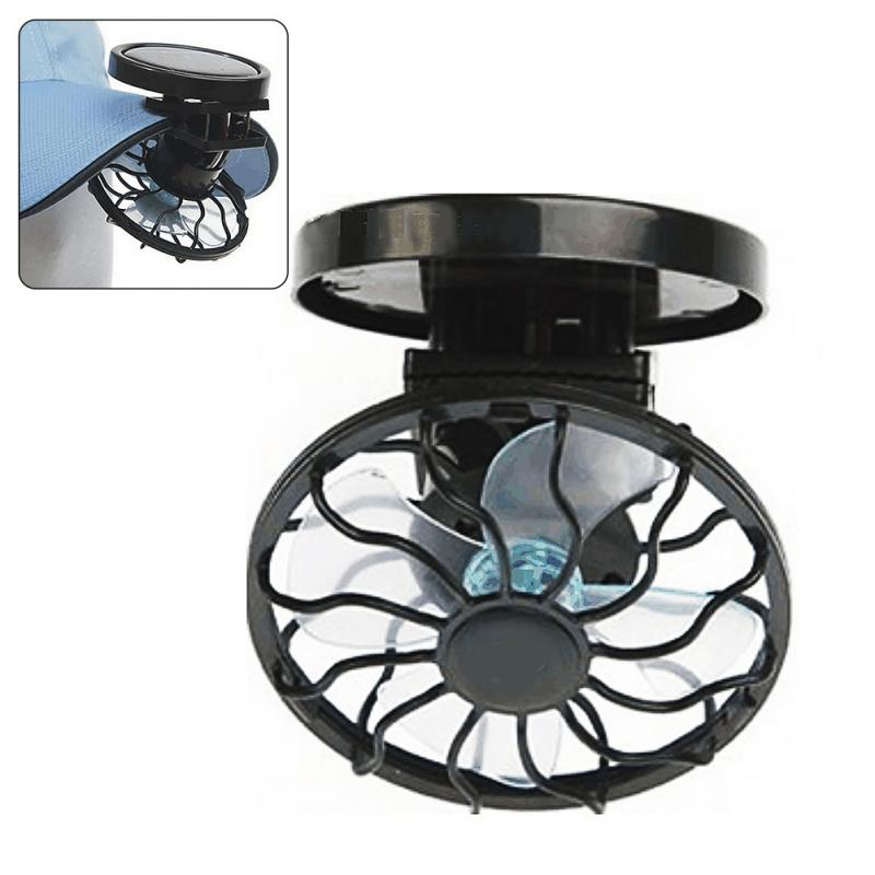 mini clip on solar sun powered fan panel black cooling cell fan for travel camping cooling. Black Bedroom Furniture Sets. Home Design Ideas