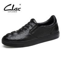 Clax Men Loafers Crocodile 2017 Spring Autumn Genuine Leather Men S Leather Casual Shoe Black Designer