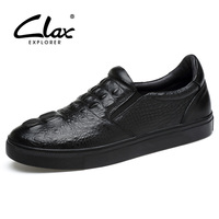 Clax Men Loafers Crocodile 2017 Spring Autumn Genuine Leather Men S Leather Casual Shoe Black Designer