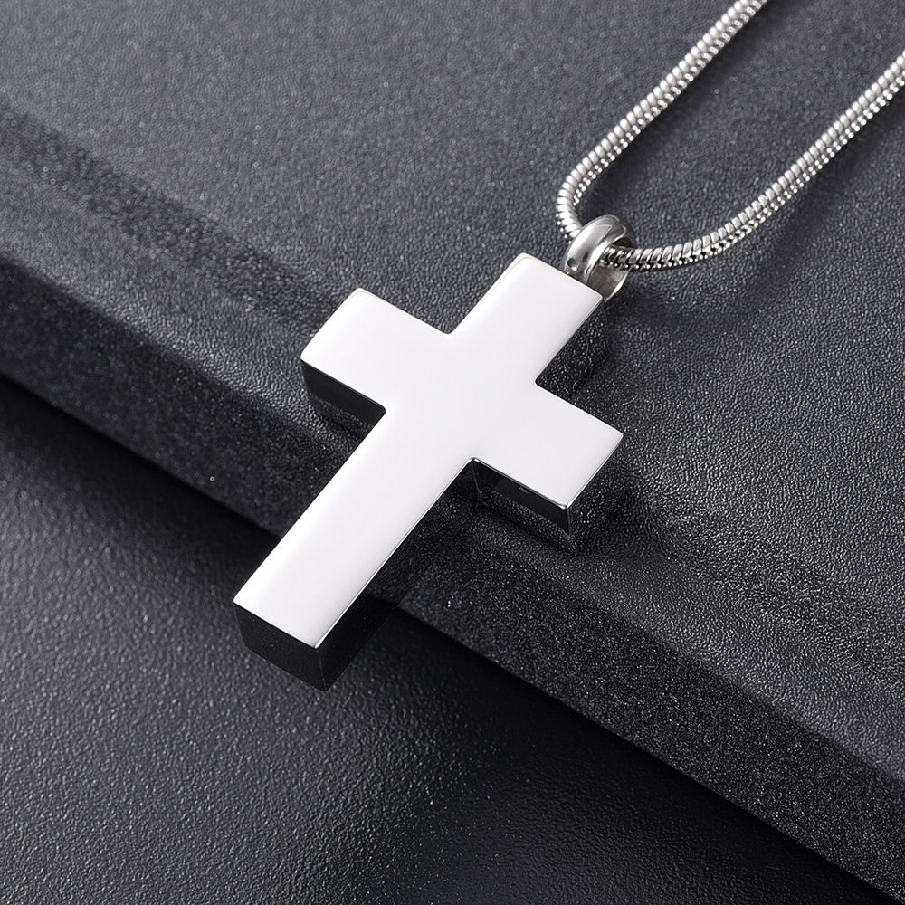 IJD11124 Funeral Jewelry -Black Cross Stainless Steel Memorial Urn Necklace Locket Hold Ashes Keepsake Cremation Pendant For Men 3