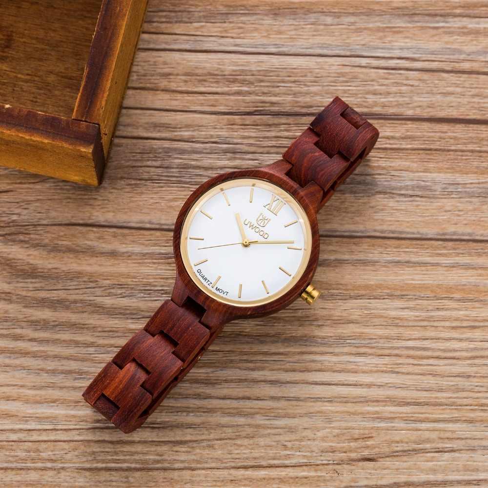 Relojes de madera de lujo de mujer de moda de marca Uwood reloj de madera de arce de sandalia Natural hecho a mano reloj de pulsera de cuarzo de mujer 2016