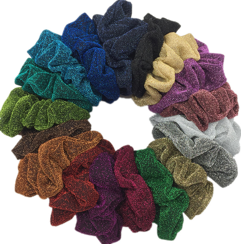 10pcs/lot Glitter Metalic Scrunchies Elastic Ponytail Holder For Women & Girl Fashion Satin Chiffon Hair Tie Accessoires