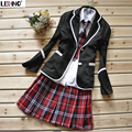 4 pcs set School uniform Coat+blouse+tie+skirts Korean fashion preppy style Japan student girls/women sailor suit Free shipping