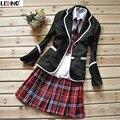 4 unids uniforme escolar conjunto Coat + blusa + pants + tie + faldas de moda coreana estilo preppy japón estudiante niñas / mujeres traje de marinero envío gratis