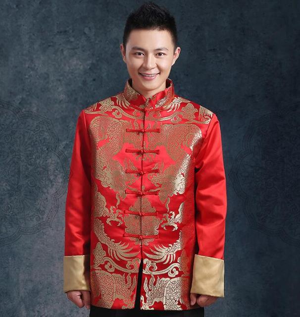 Traditional chinese clothing for men Tangzhuang clothing Long sleeves Chinese dragon clothing