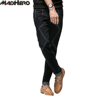 MADHERO Brand Upmarket Striped Jeans Men 3 D Tailor Cotton High Quality Pants Elastic Sweatpants Leisure