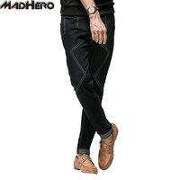 MADHERO Vaqueros Negros de Los Hombres de Algodón Spandex Rayas Slim Fit 3 D A Medida de Lujo de Marca de Alta Calidad Pantalones de Los Hombres de Ocio