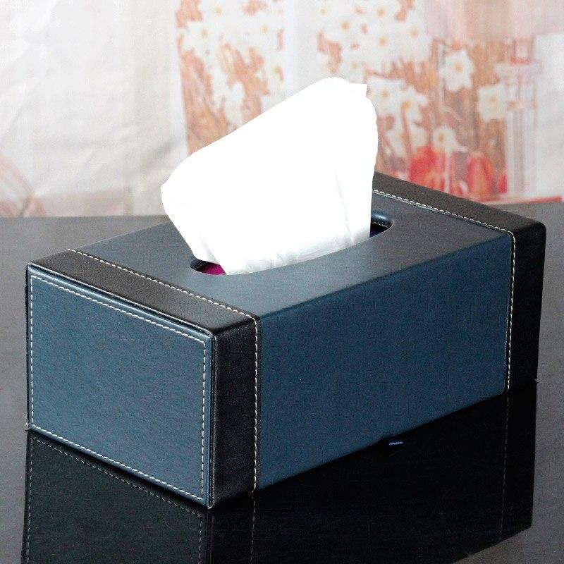 Europe wooden+PU leather tissue box covers holder napkin box toilet paper holder dispenser case home storage box PZJH034