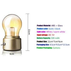Image 4 - Vintage Bóng Đèn LED Ánh Sáng Ban Đêm Retro USB 5V Sạc Pin Tâm Trạng Đèn Bàn Viết Bàn Đèn Di Động Đèn Ngủ