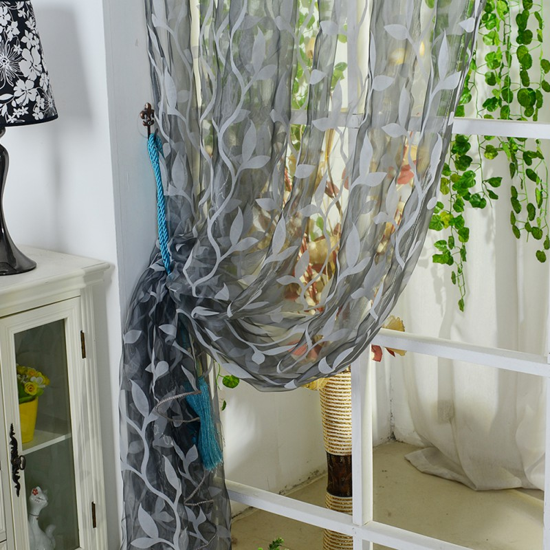 Curtain Leaf Tulle Voile Door Window Curtain Drape Panel Sheer Scarf ...