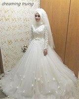 Халат де mariée Princesse мусульманское свадебное платье с хиджаб 3D цветы длинным рукавом свадебное платье Саудовской Аравии