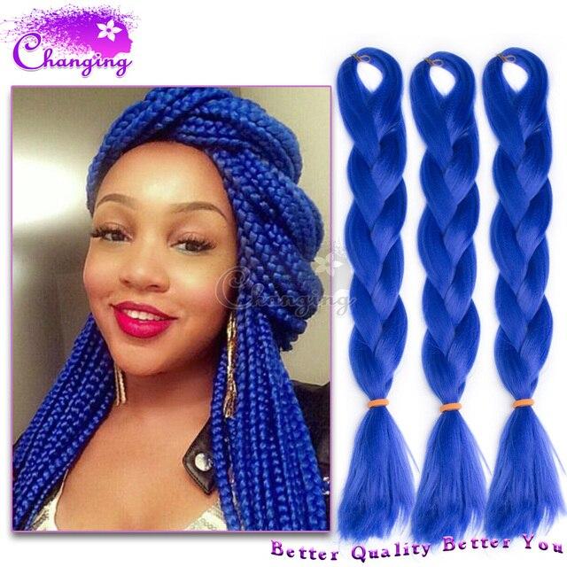 Blue Kanekalon Jumbo Braid 10pcs Xpression Braiding Hair Box Extensions Senegalese Twist 24 Inch