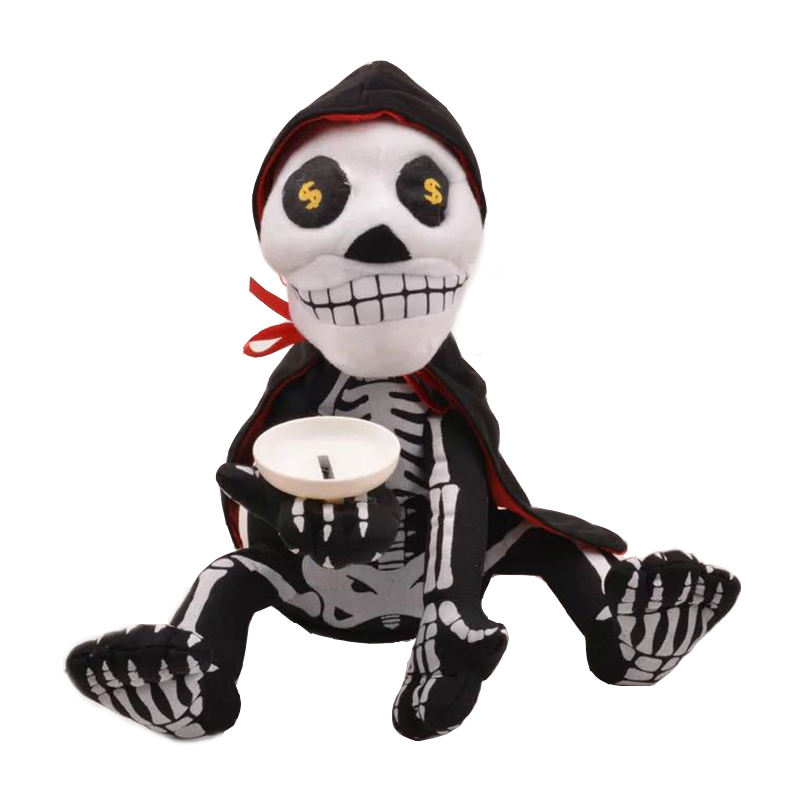 halloween skeleton piggy bank coin box money saving funny plush antistress novelty gag toy music - Online Halloween Music