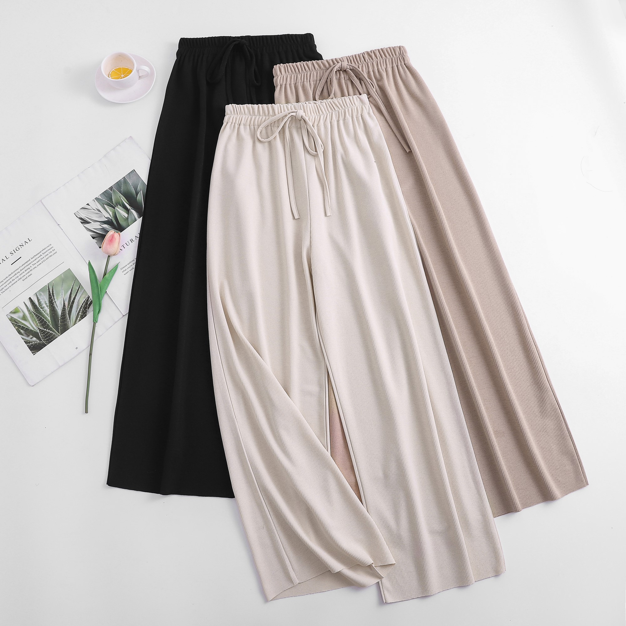 Womem   wide     leg     pants   fashion female vintage elegant elastic waist thin knitted   pant   casual trousers summer autumn