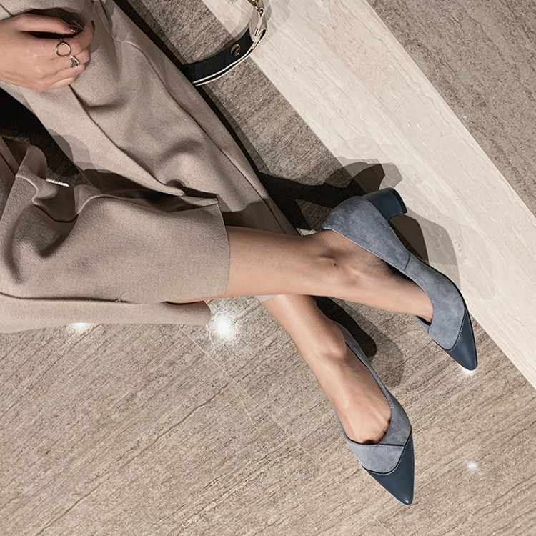 Big Size 9 10 11 12  Ladies High Heels Women Shoes Woman Pumps Tip-top color matching light-mouth thick-heeled single shoe