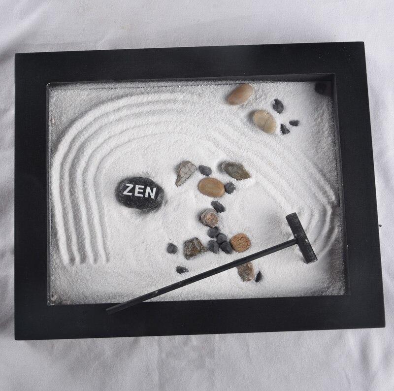 jardn zen cuadro negro estatuilla artesanas de madera quemadores de incienso arena miniaturas jardn hogar y