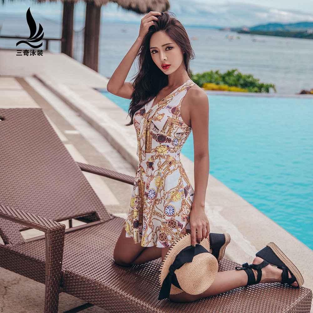 SHANQI Polyester Swimming Suit Conjoined Skirt Type Cover Belly Show Thin Sexy Reveal back gather together Chest Hot Spring Swim staerk swimsuit skirt type conjoined steel supporting small chest belly thin cover gather conservative large code hot swimwear