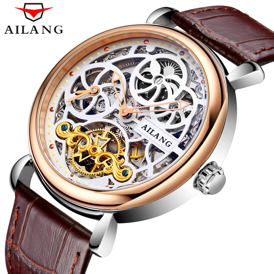 Skeleton Watches Genuine Leather Automatic Machinery Wrist Watches Man's Clock Reloj Hombre