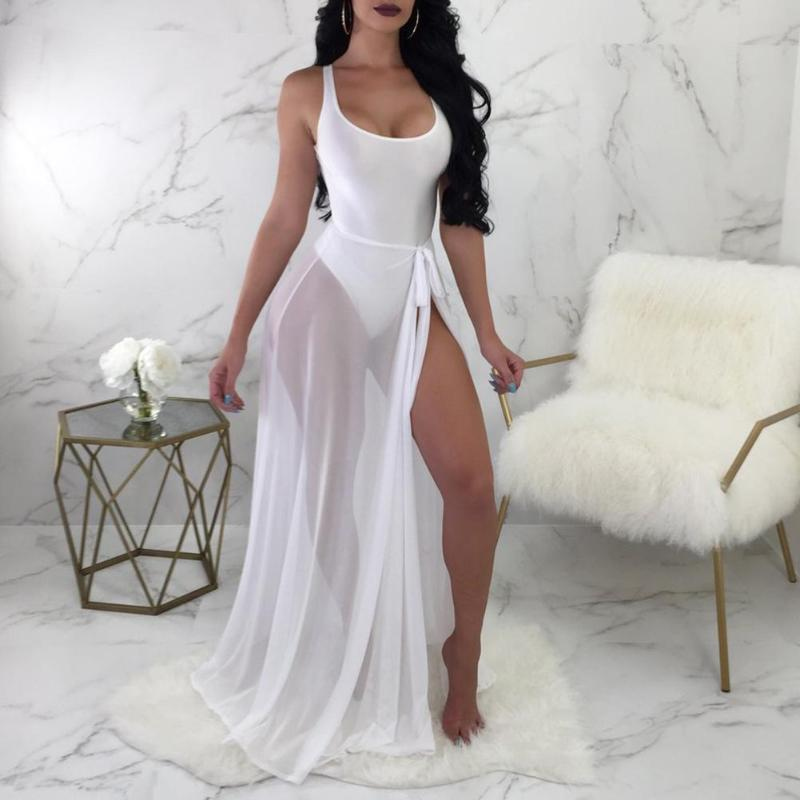 Women 2pcs Sexy Clothes Set Sleeveless Backless Jumpsuit High Split Yarn Skirt Suit Cotton Beach Outfits