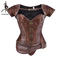 Pockets Decoration Short Sleeves Women Jacket Steampunk Clothing Steel Boned Waist Trainer Corset Bustier With G String 939#