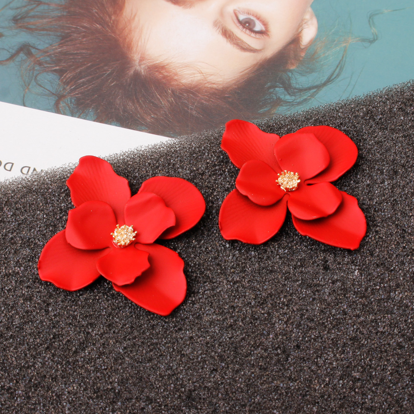 24 Styles red Korean Style Cute <font><b>Flower</b></font> Stud <font><b>Earrings</b></font> <font><b>For</b></font> <font><b>Women</b></font> <font><b>2019</b></font> New Fashion Sweet <font><b>Earrings</b></font> Femme Brinco Wholesale Jewelry image