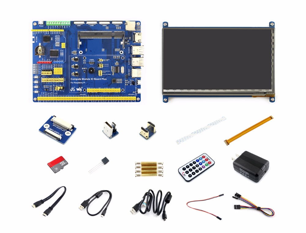 Raspberry Pi Compute Module 3 Lite Accessory Pack Type B (no CM3L) With 7inch HDMI LCD, DS18B20, Power Adapter, Micro SD Card parts raspberry pi compute module 3 lite development kit type a with compute module 3 lite power adapter micro sd card camera c
