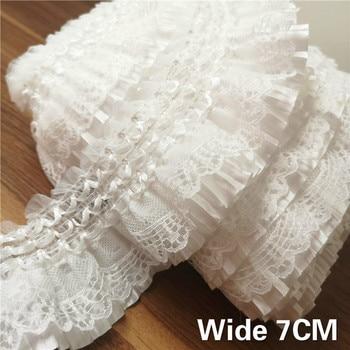 Изящная белая кружевная лента с вышивкой, эластичная лента с гофрированным воротником, одежда для шитья, юбка, головной убор, аппликация из гипюра, Декор, 7 см Ширина