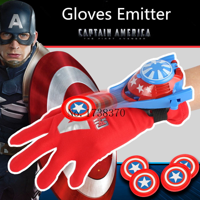 1Pcs Newest The Avengers Figure Anime Interesting Ironman Spiderman Captain America Glove Emitter Cosplay Toys For Children 32cm 2017 new avengers toys movie avengers alliance captain america shield cosplay costume led flashing sound kids toys gifts