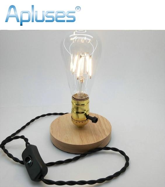 E27 110v 220v Retro Vintage Double Switch Gold Lamp Holder Wood Lamp
