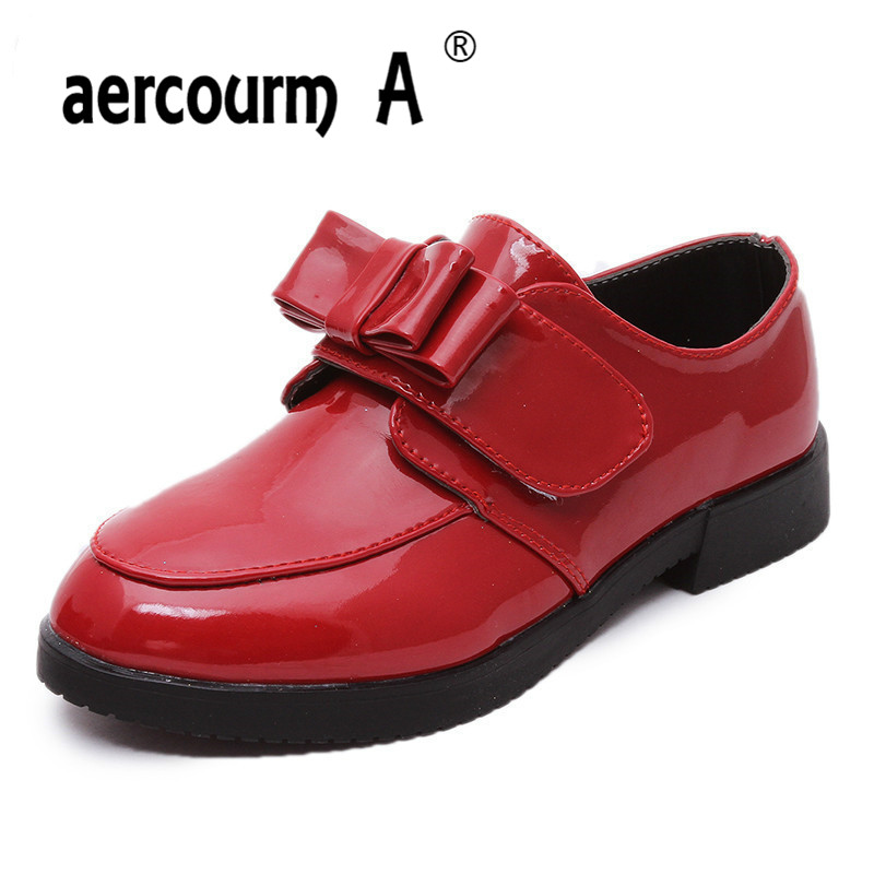 aercourm A 2016 Spring Children Shoes Kids Princess Shoes Girls Bow Shoes Children Sneakers Girls Sneakers Bows Leather Shoes