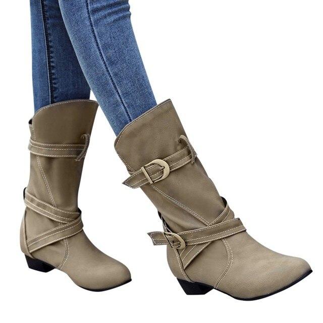 YOUYEDIAN Kadın ayakkabı Katı Avrupa Kışlık botlar Retro Deri Patchwork Dikiş Martin Çizmeler Ayakkabı zapatos de mujer #35