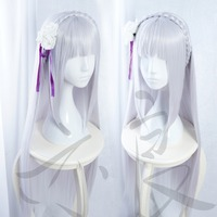100cm Long Straight Re Life In A Different World From Zero Wig Emilia Silver Purple Anime
