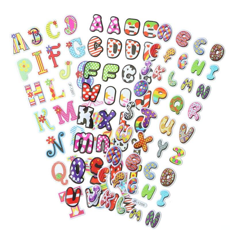 10pcs Cartoon English Alphabet Bubble Stickers Cute 3D PVC Mobile Phone Album Decoration Stickers Children Stationery Stickers
