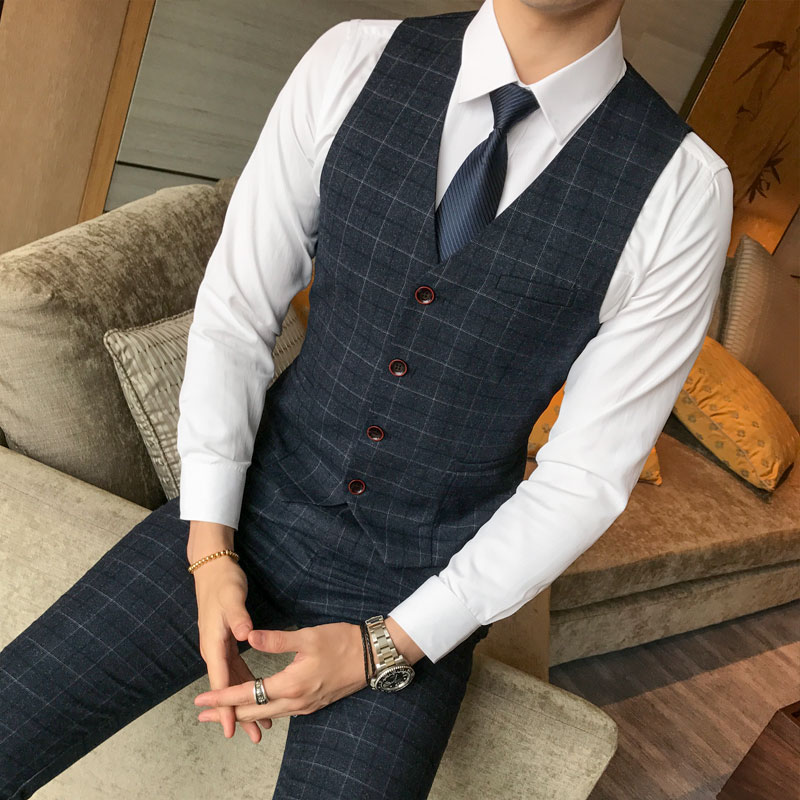 Image 3 - ( Jacket + Vest + Pants ) 2019 New Men's Fashion Boutique Plaid Wedding Dress Suit Three piece Male Formal Business Casual Suits-in Suits from Men's Clothing