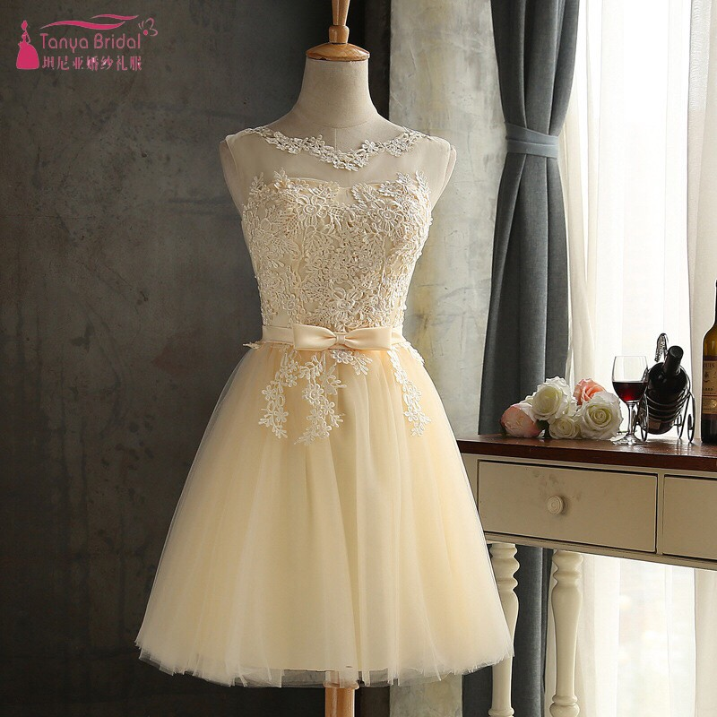Champagne Tulle Homecoming Dresses With Bow Short graduation dresses  special occasion dresses junior Cheap DQG310 868d3df4de90