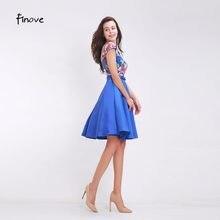 2fdf3c4e84c43 Finove Çiçekler Aplikler Kısa balo kıyafetleri Moda A-Line Kase Kemer 2019  Yeni Stiller V Yaka Mavi Mezuniyet Elbiseleri