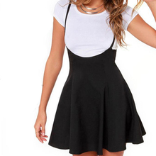 Women Black Skirt with Shoulder Straps Pleated Skirt Suspender Skirts 2018 New Hot Girls High Waist Solid School Skirt girls geometric print top with solid skirt