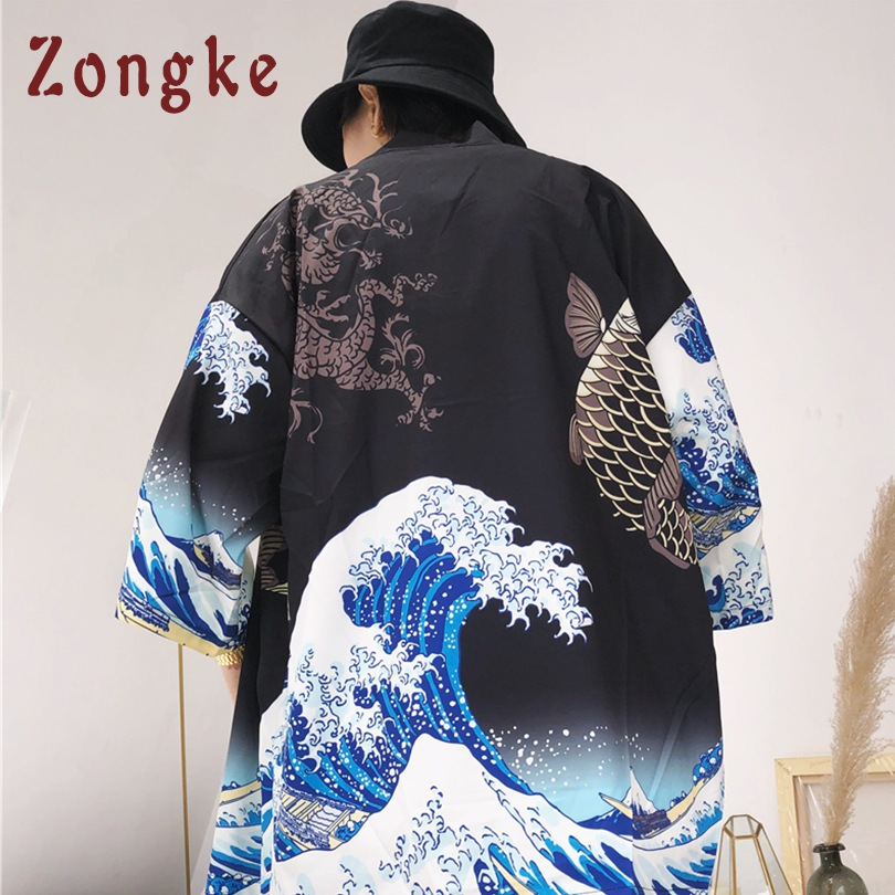 Zongke Japanese Wave Carp Print Long Thin Mens Kimono Cardigan Jacket Coat 2018