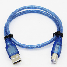 50cm USB 2.0 Printer Cable Type A Male to Type B Male Dual Shielding High Speed Transparent Blue