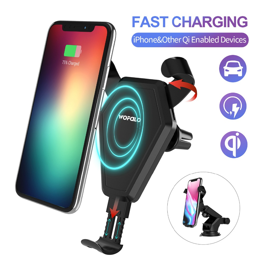 Auckly 7.5W Car Phone Holder Fast Wireless Charger Car Mount Air Vent Phone Holder Cradle For