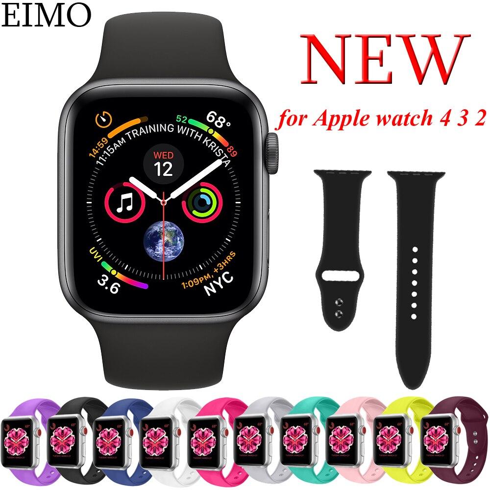 7fb8feedb42 EIMO Relógio Silicone Strap para Apple 4 44mm 40mm Banda Esporte iwatch  série 3 2 1 42mm colok 38mm pulseira de pulso pulseira pulseira