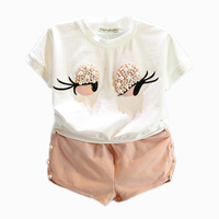 2016 Autumn Pearl Girls Clothes Set Lovely Long Eyelashes Toddler Girl Tops Pants Girls Suit Kids