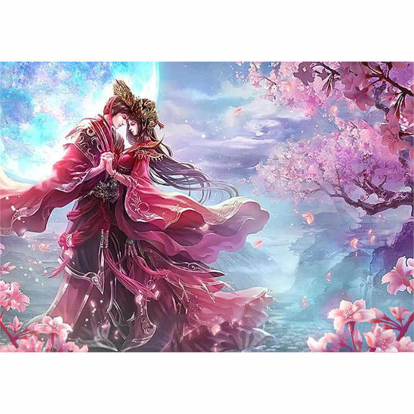 DIY Digital Painting By Numbers Package romantic wedding oil painting mural Kits Coloring Wall Art Picture Gift frameless