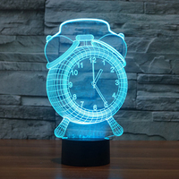 Illusion Alarm Clock Lamp Touch 7 Color Changing Led 3D Atmosphere Lamp Gradient Visual Perspective Nightlight
