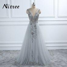 Dubaj turecki szary głębokie V Neck suknie wieczorowe Robe de soiree 2018 nowy arabski Aibye Abendkleider frezowanie formalne suknie na bal