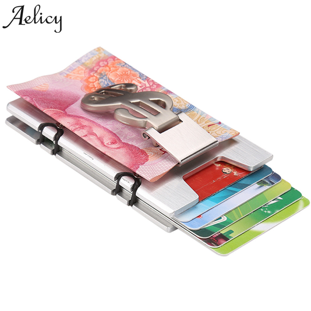 Aelicy 2018 RFID Men and Women Minimalist Aluminum Alloy Wallets Slim Mini Business Card Holder Metal Credit Card Protector