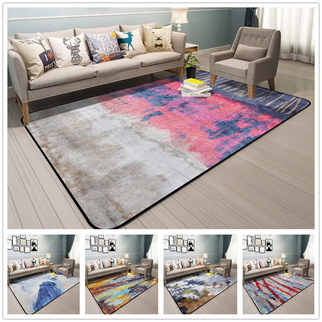 colorful rugs. Abstract Art Rugs And Carpets For Home Living Room Colorful Bedroom Anti Slip Coffee Table Floor Mat Cloakroom Carpet-in Carpet From \u0026 Garden