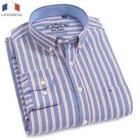 LANGMENG 2018 Plus Size 5XL Long Sleeve Men Shirts Cotton Formal Dress Shirt Male Fashion Slim