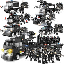 Military Series Police Building Blocks Kids Assembling Urban Weapons Aircraft Car Boat Dolls Boy Toy Compatible Legoe(China)