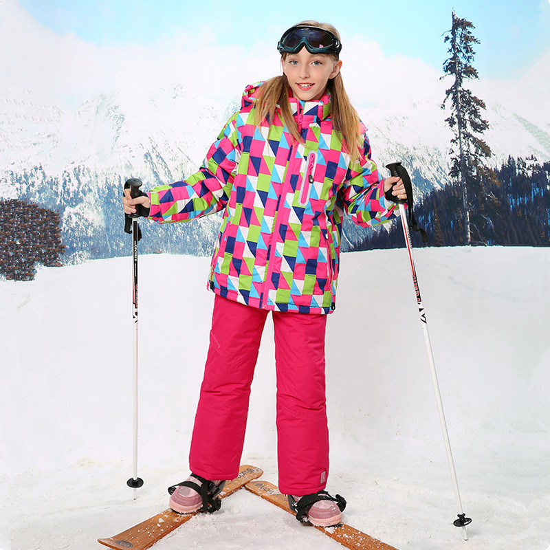 ФОТО 2016 Winter Ski Suits For Girls Snow Suit Kids Ski Jacket Snowboard Overalls Outdoor Camping Sport Girl Wear Warm For -30 Degree